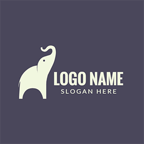 Purple and White Elephant Icon logo design