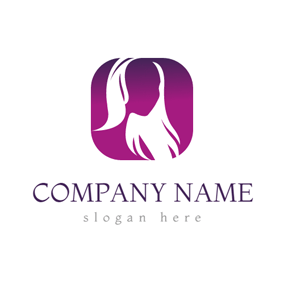 Purple and White Medium Length Hair logo design
