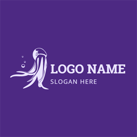 Purple and White Octopus logo design