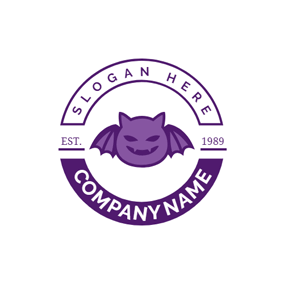 Purple Badge and Bat logo design