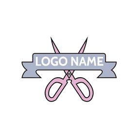 Purple Banner and Pink Scissor logo design