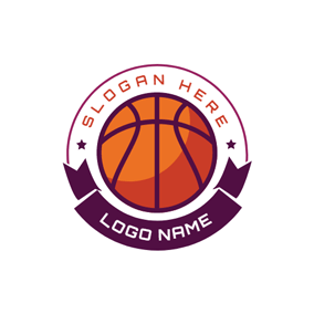 Purple Banner Yellow Basketball logo design
