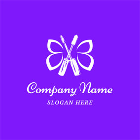 Purple Butterfly and Crossed Mascara Cream logo design
