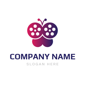 Purple Butterfly and Film logo design