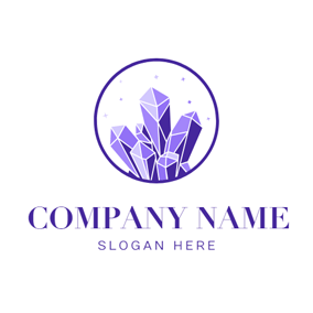 Purple Circle and Crystal logo design
