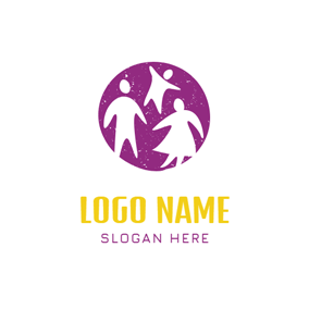 Purple Circle and Family logo design