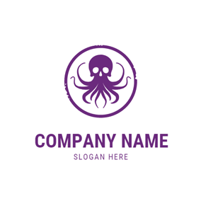 Purple Circle and Kraken logo design