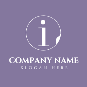 Purple Circle and White Letter I logo design