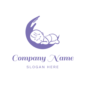 Purple Cradle and Sleep Baby logo design