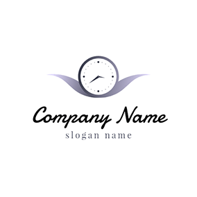 Purple Decoration and White Watch logo design