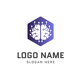 Purple Hexagon Brain and Ai logo design