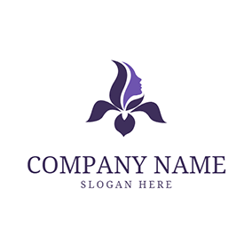 Purple Iris and Pretty Face logo design