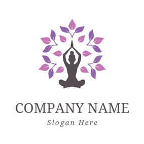 Purple Leaf and Outlined Yogi logo design