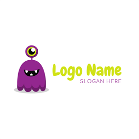 Purple Monster Pattern logo design