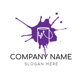 Purple Pigment and White Bucket logo design