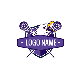 Purple Shield and Lacrosse Stick logo design