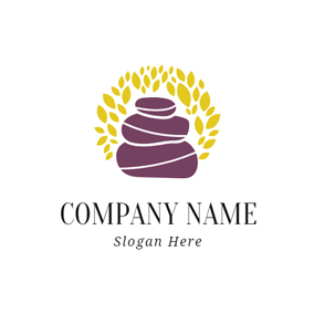 Purple Stone and Yellow Leaf logo design