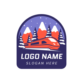 Purple Tree and Red Train logo design