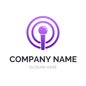 Purple Voice and Podcast logo design