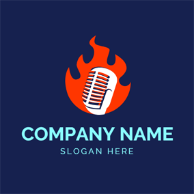 Raging Flame and Microphone logo design