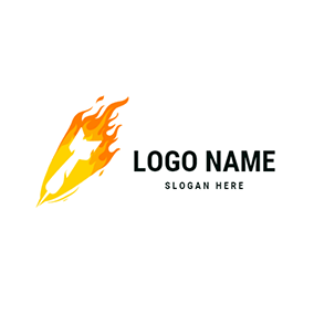 Raging Flames and White Dart logo design