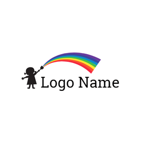 Rainbow and Little Girl logo design