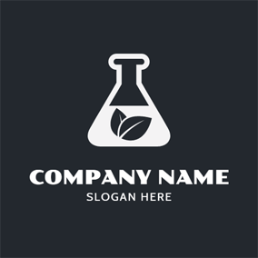 Reagent Bottle and Leaf logo design