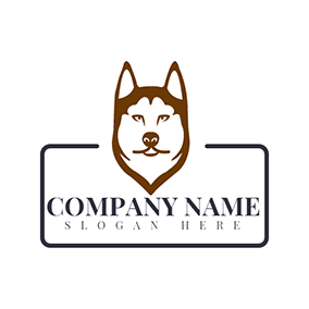 Rectangle and Husky Head logo design