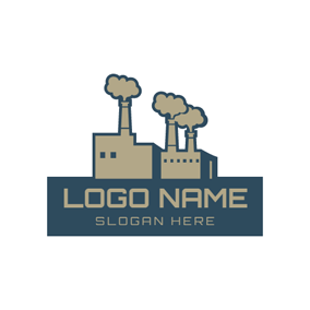 Rectangle Banner and Industrial Chimney logo design