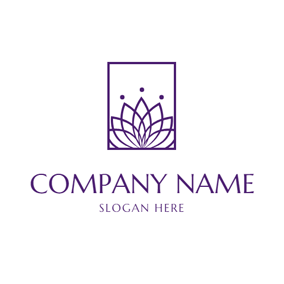 Rectangle Frame and Purple Lotus logo design
