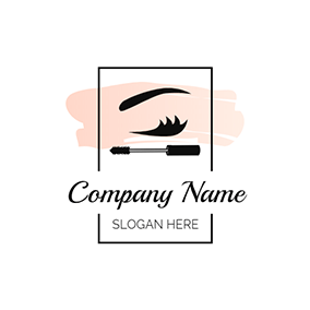 Rectangle Lash Curler and Eyelash logo design