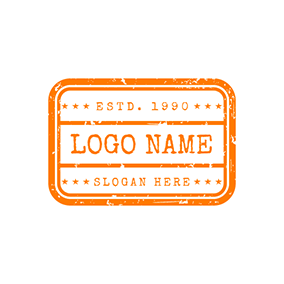 Rectangle Orange Stamp logo design