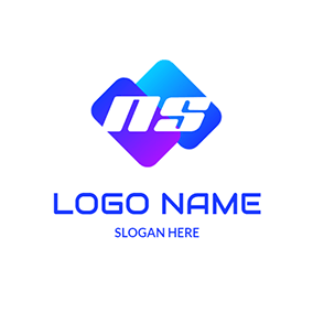 Rectangle Simple Letter N S logo design