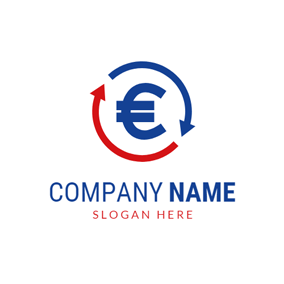 Recycle Arrow and Blue Euro logo design