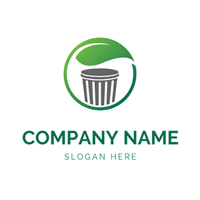 Recycle Circle Leaf Trash Bin logo design