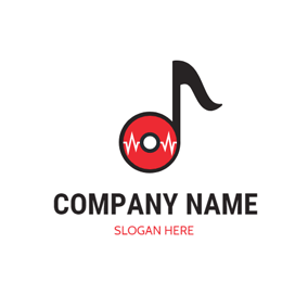 Red CD and Black Note logo design
