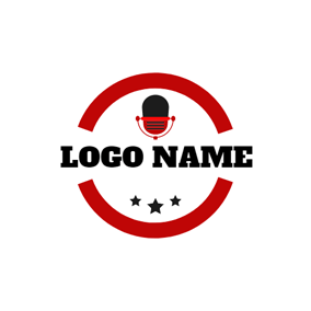 Red and Black Microphone logo design