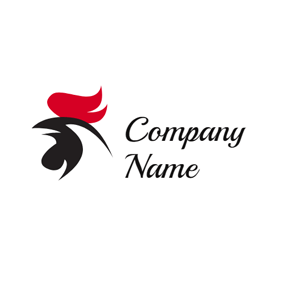 Red and Black Rooster Head logo design
