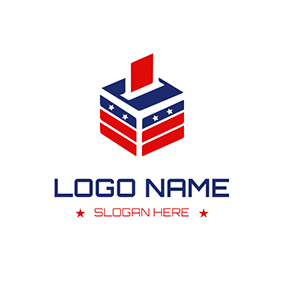 Red and Blue Ballot Box logo design