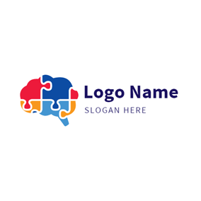 Red and Blue Brain logo design