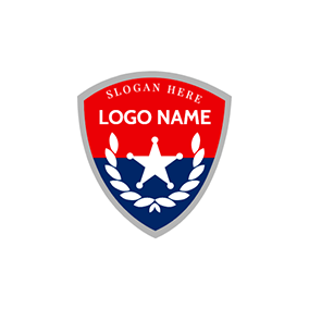 Red and Blue Police Badge logo design