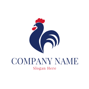 Red and Blue Rooster logo design