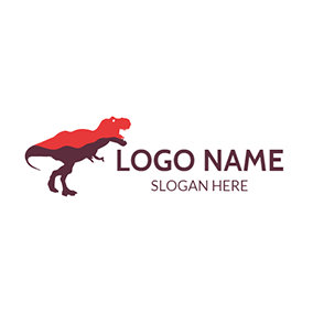 Red and Brown Dinosaur logo design