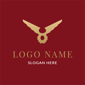 Red and Golden Winglike Symbol logo design