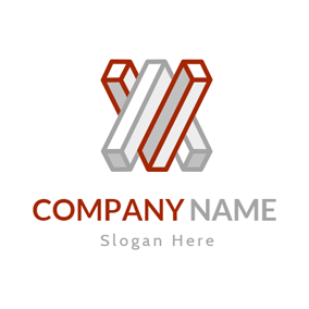 Red and Gray Cuboid logo design