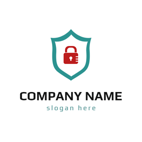 Red and Green Lock Security logo design