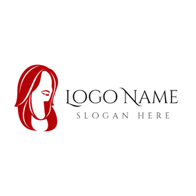 Red and Medium Length Hair logo design