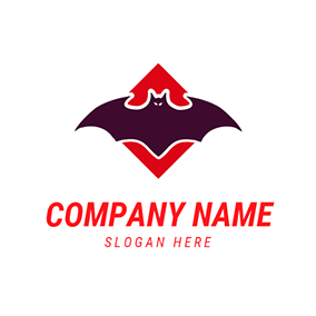 Red and Purple Bat Mascot logo design