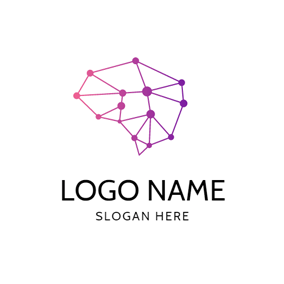 Red and Purple Brain logo design