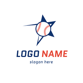 Red and White Baseball Icon logo design
